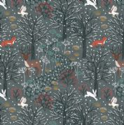 Lewis & Irene - Winter in Bluebell Wood - 6687 - Woodland Scene on Charcoal - C42.3 - Cotton Fabric